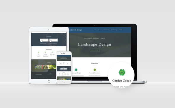 Website of Blue Beech Design on laptop, tablet, and computer