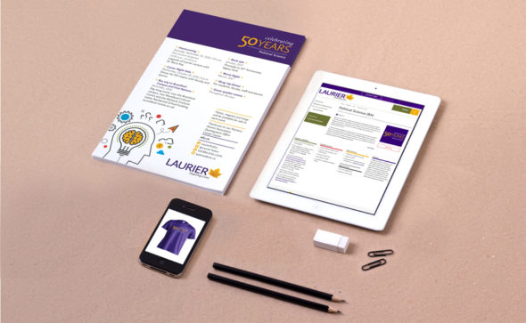 Poster, tablet and phone displaying anniversary logo for Laurier department