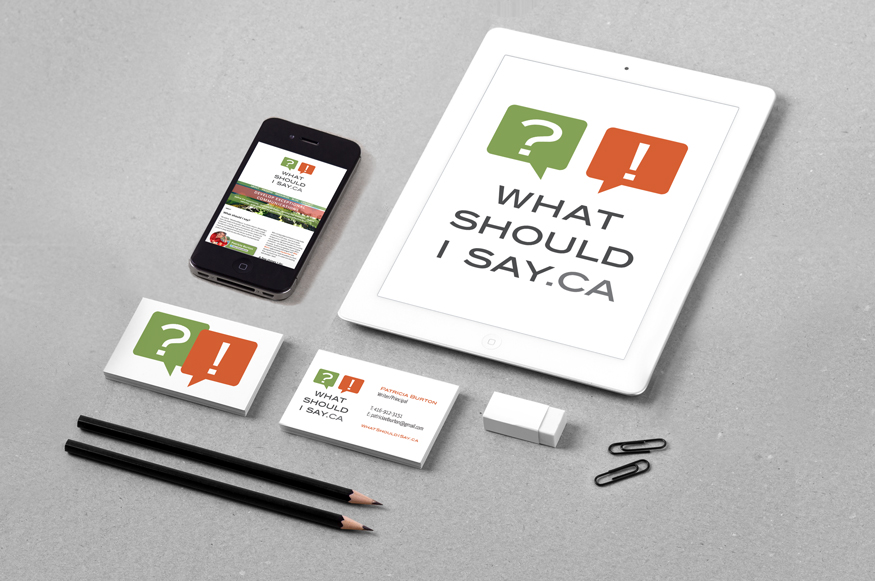Logo and business card of What Should I Say.ca