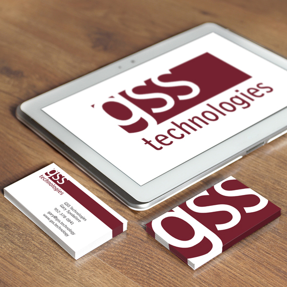 GSS Technologies logo and business cards in maroon and white