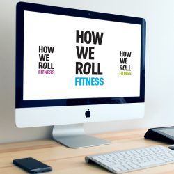 How We Roll Fitness logo on computer monitor