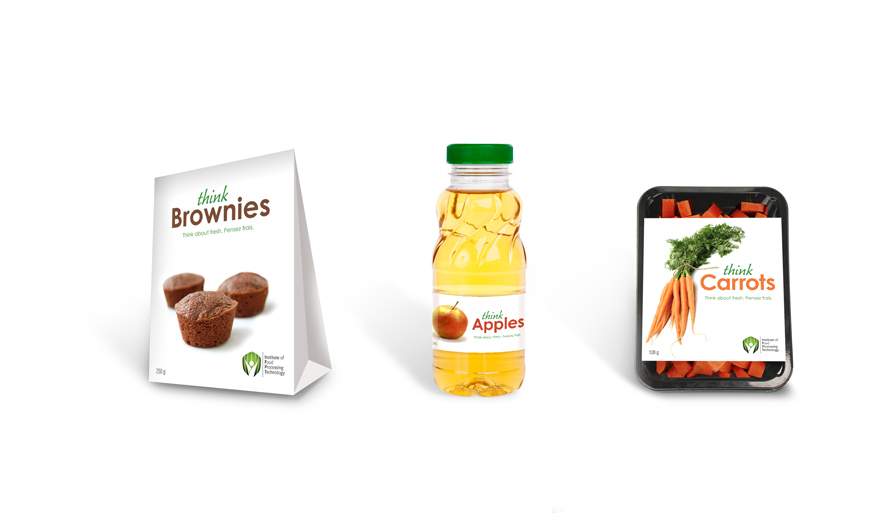 packages of brownies, apple juice and carrots