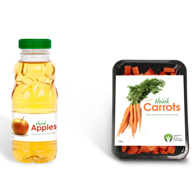 "Apple juice bottle and carrot package on white background with brand name ""thinkCarrots"""