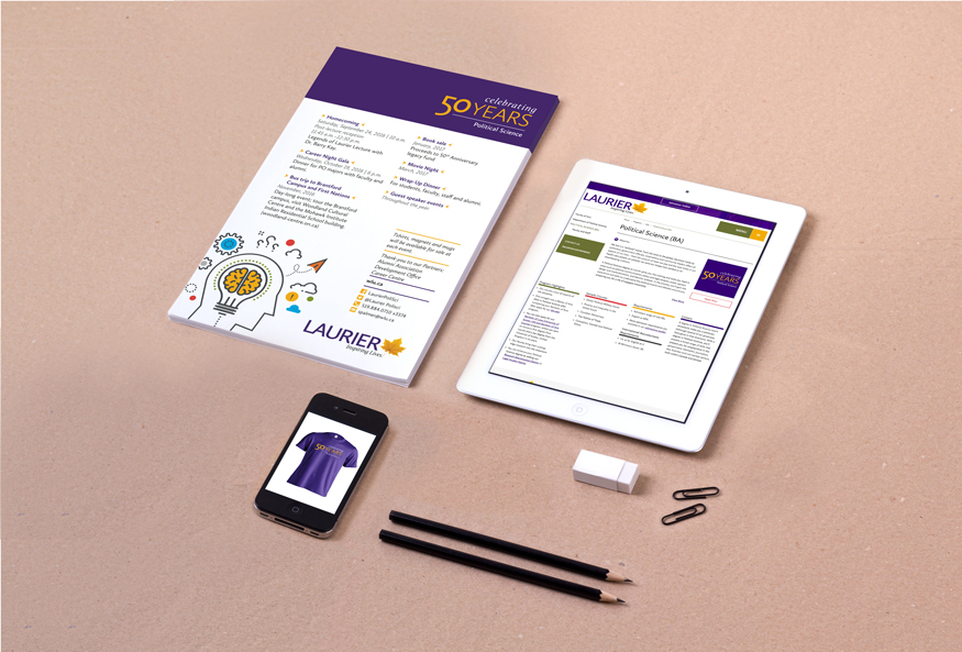 Poster, tablet and phone displaying anniversary logo for Laurier department.