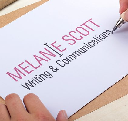 Melanie Scott writing and communications logo in pink and black