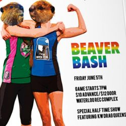 Poster illustration with two women with beaver heads and the rainbow title Beaver Bash.