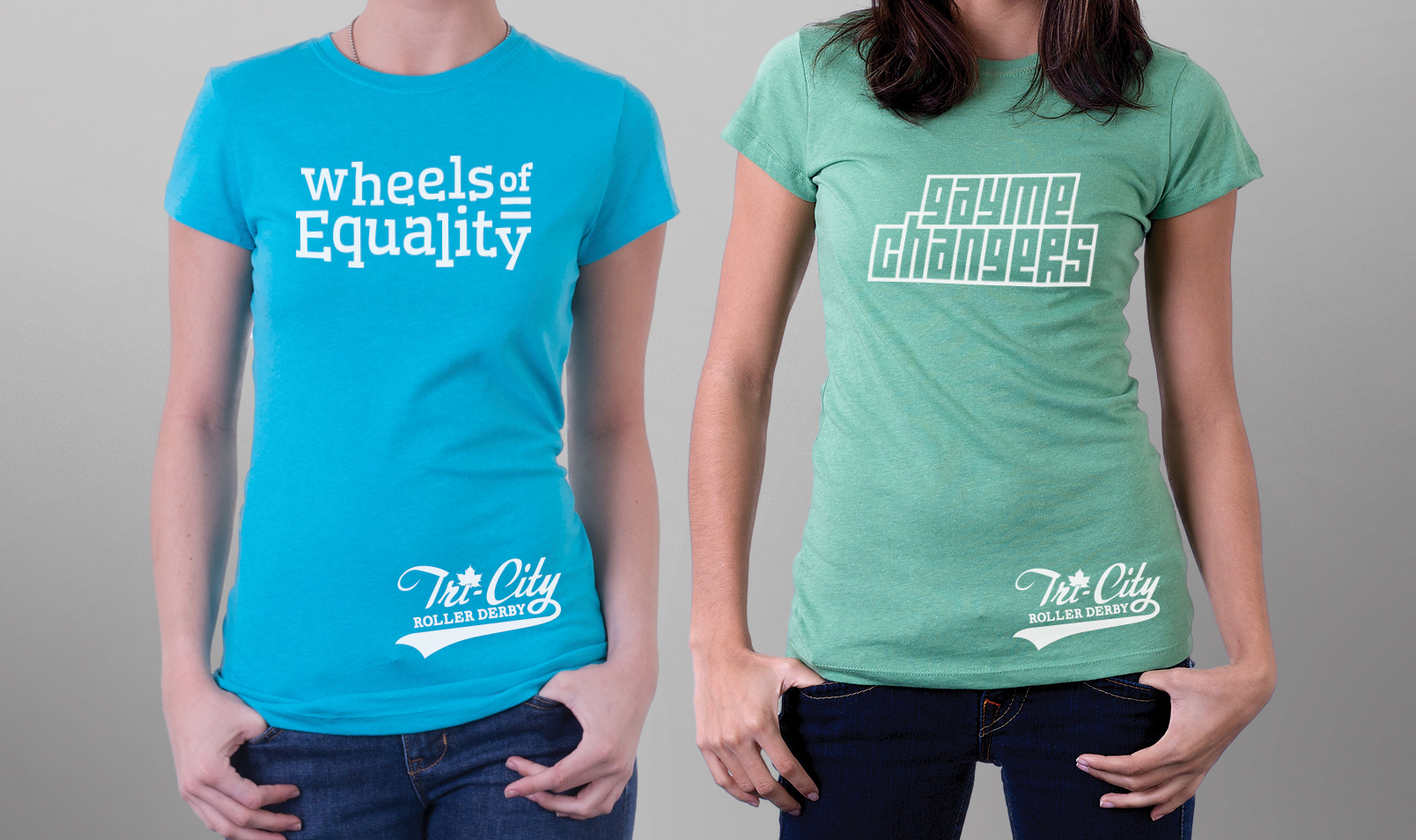 tshirts reading 'wheels of equality' and 'gayme changers'