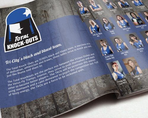 Booklet open to page with blue grungy graphics and headshots
