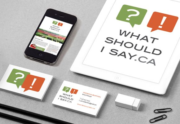 What Should I Say.Ca logo in green and orange on tablet, phone and business cards